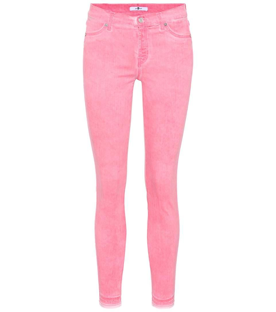 7 For All Mankind Cropped Mid-Rise Skinny Jeans In Pink
