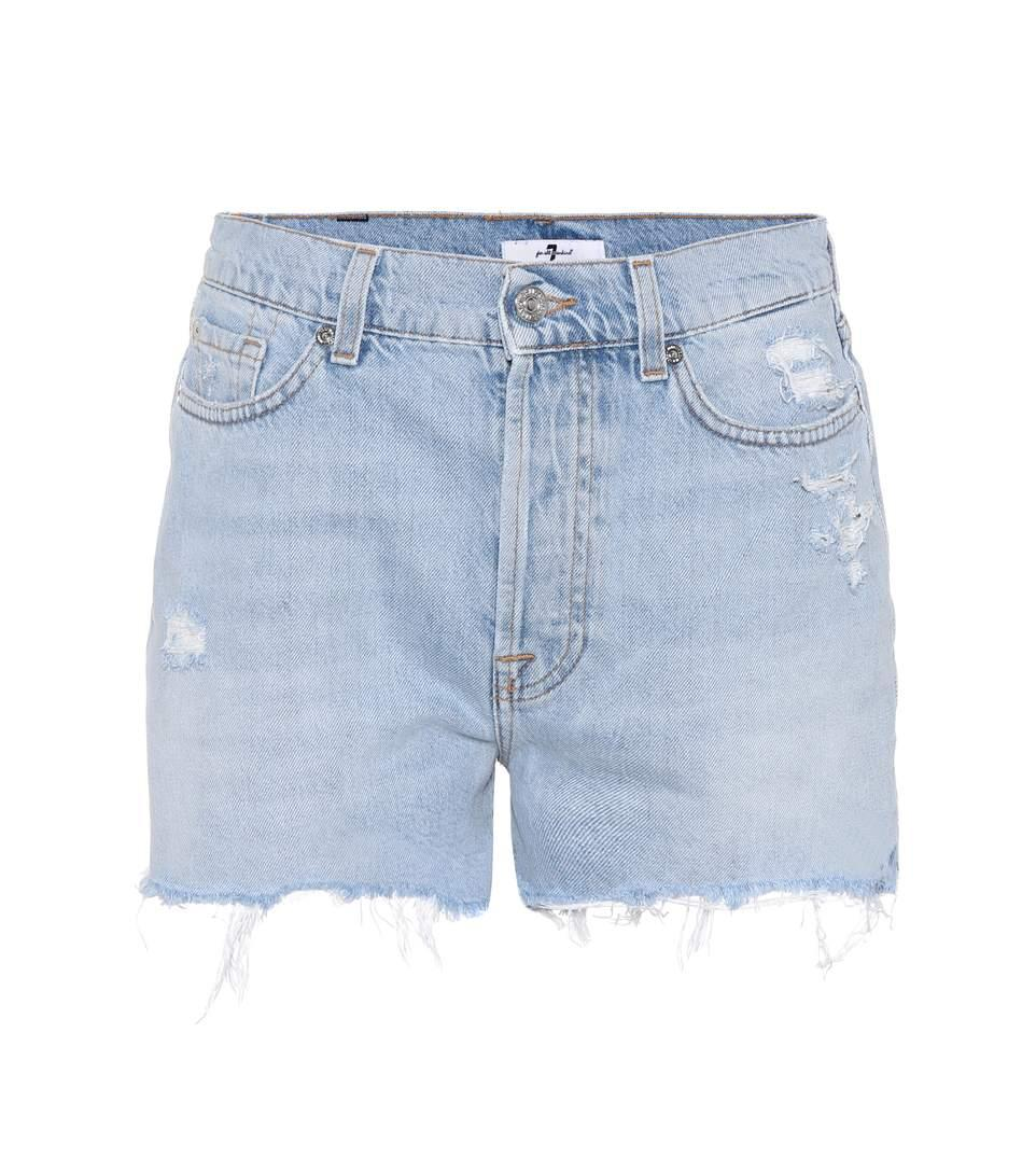 7 For All Mankind High-Waisted Denim Shorts In Blue