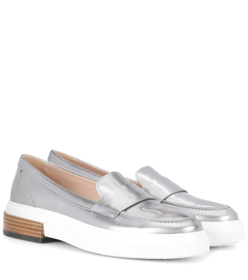Tod's Metallic Leather Loafers In Female