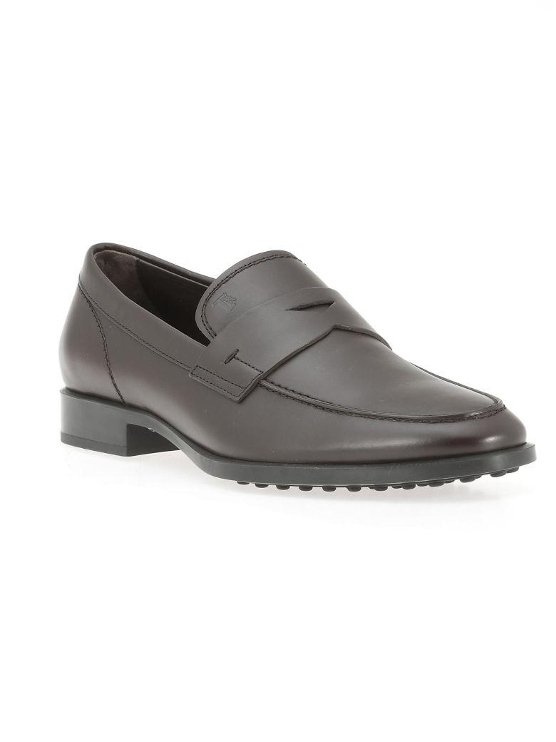 Tod's Leather Loafer In Testa Moro