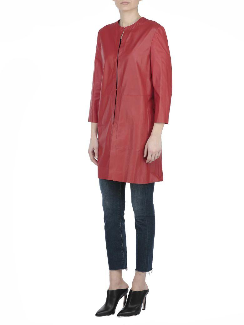 Drome Leather Overcoat In Ruby