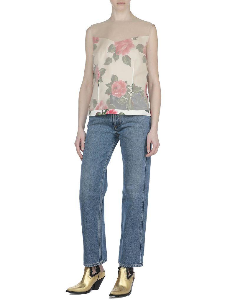 Maison Margiela Silk Top In Nude/White Printed Rose