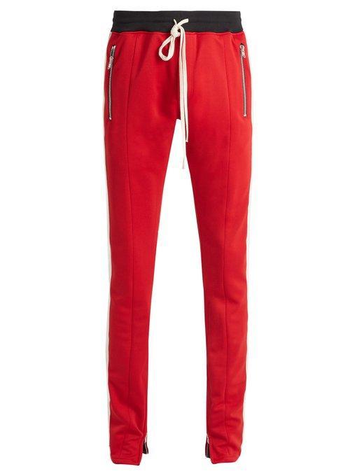 Fear Of God Side-stripe Skinny Jersey Track Pants In Red