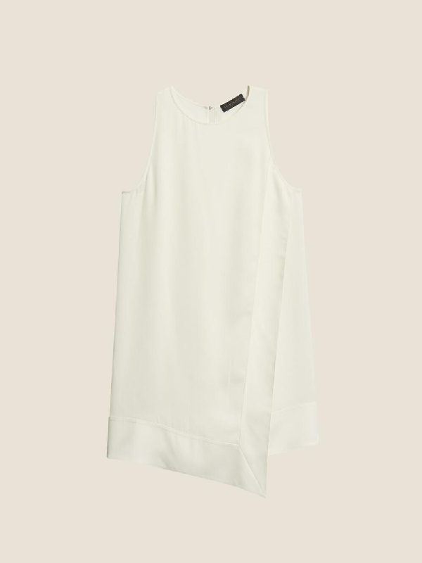 Donna Karan Double Layer Georgette Sleeveless Tunic In Ivory