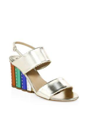 e1b4f87d682 SALVATORE FERRAGAMO. Women s Gavi Leather Rainbow Floral Wedge Slingback  Sandals ...