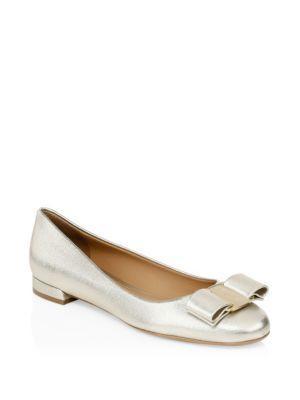 Salvatore Ferragamo Varina Gold Bow Leather Flats