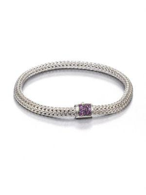 John Hardy Classic Chain Amethyst & Sterling Silver Extra-Small Bracelet In Silver Amethyst