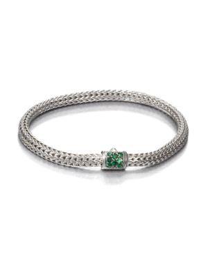 John Hardy Classic Chain Tsavorite & Sterling Silver Extra-Small Bracelet In Silver Green