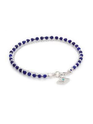 Astley Clarke Biography White Sapphire, Lapis, Turquoise & Sterling Silver Evil Eye Beaded Friendship Bracelet In Silver Blue