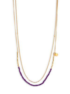 Astley Clarke Biography Amethyst Beaded Double-Strand Necklace In Gold Amethyst