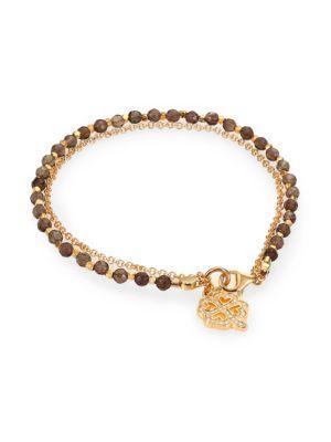 Astley Clarke Biography Smoky Quartz & White Sapphire Four-Leaf Clover Beaded Friendship Bracelet In Gold Grey