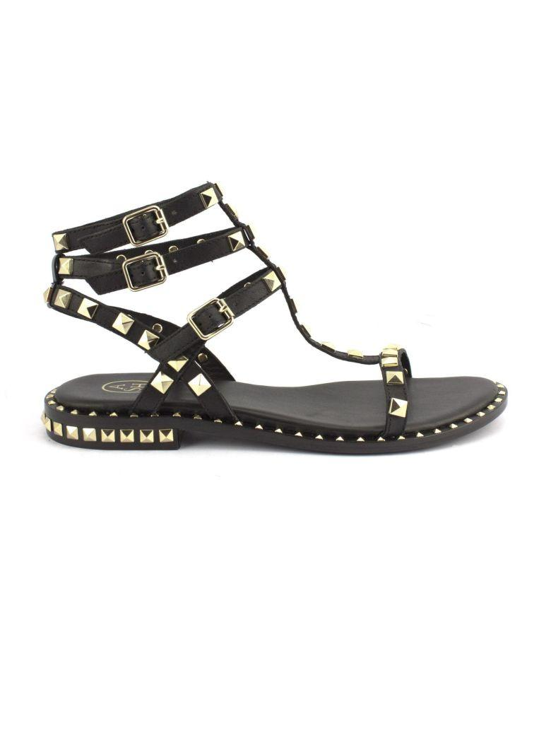 a0eb633791de Ash Poison Sandals In Black Leather With Studs In Nero