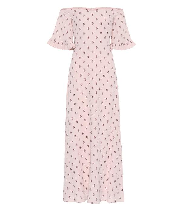 Valentino Floral-Print Silk-Crepe Dress In Multi