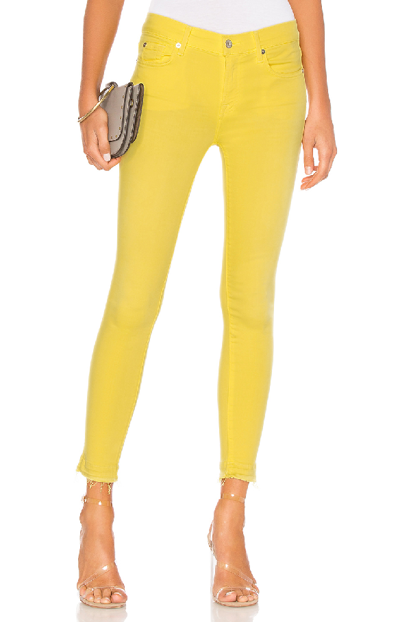 7 For All Mankind The Ankle Skinny Jeans With Released Hem In Vivid Yellow