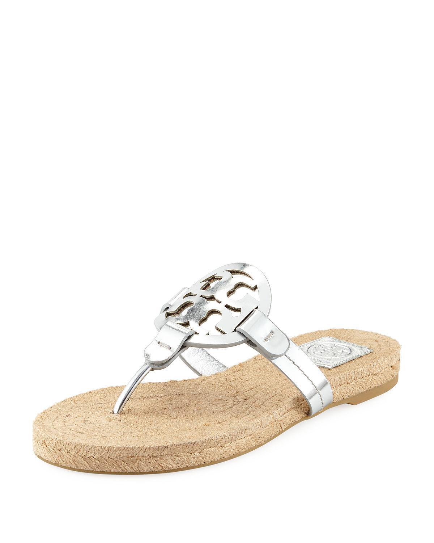 c5d5acf8e4689e Tory Burch Miller Logo Espadrille Flat Thong Sandal In Silver  Natural  Vachetta