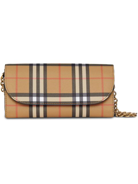 6fb95f2000a11 Burberry Small Vintage Check Leather Convertible Wallet Shoulder Bag In  Black