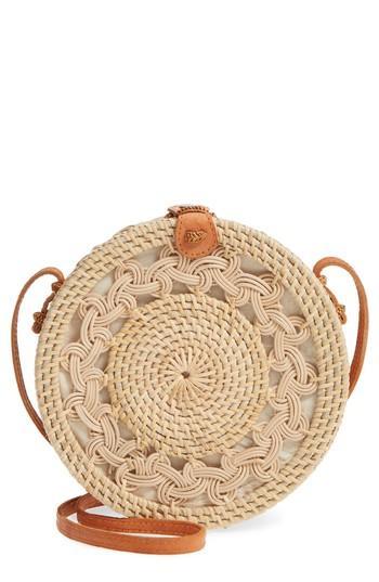 Street Level Woven Rattan Circle Basket Crossbody - Brown In Lighter Tan/ Natural