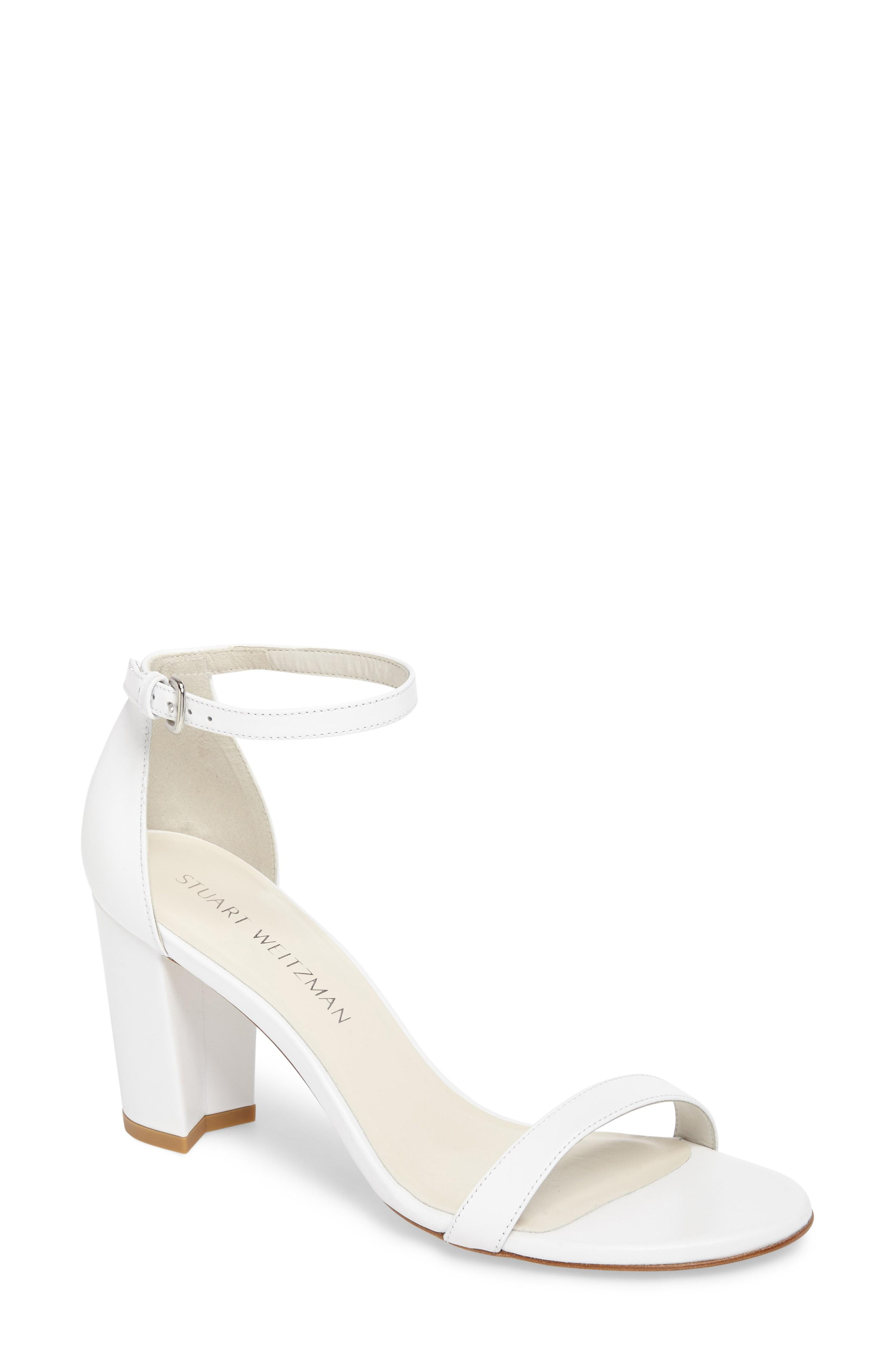 9e25d119be90 Stuart Weitzman Nearlynude Ankle Strap Sandal In White Nappa