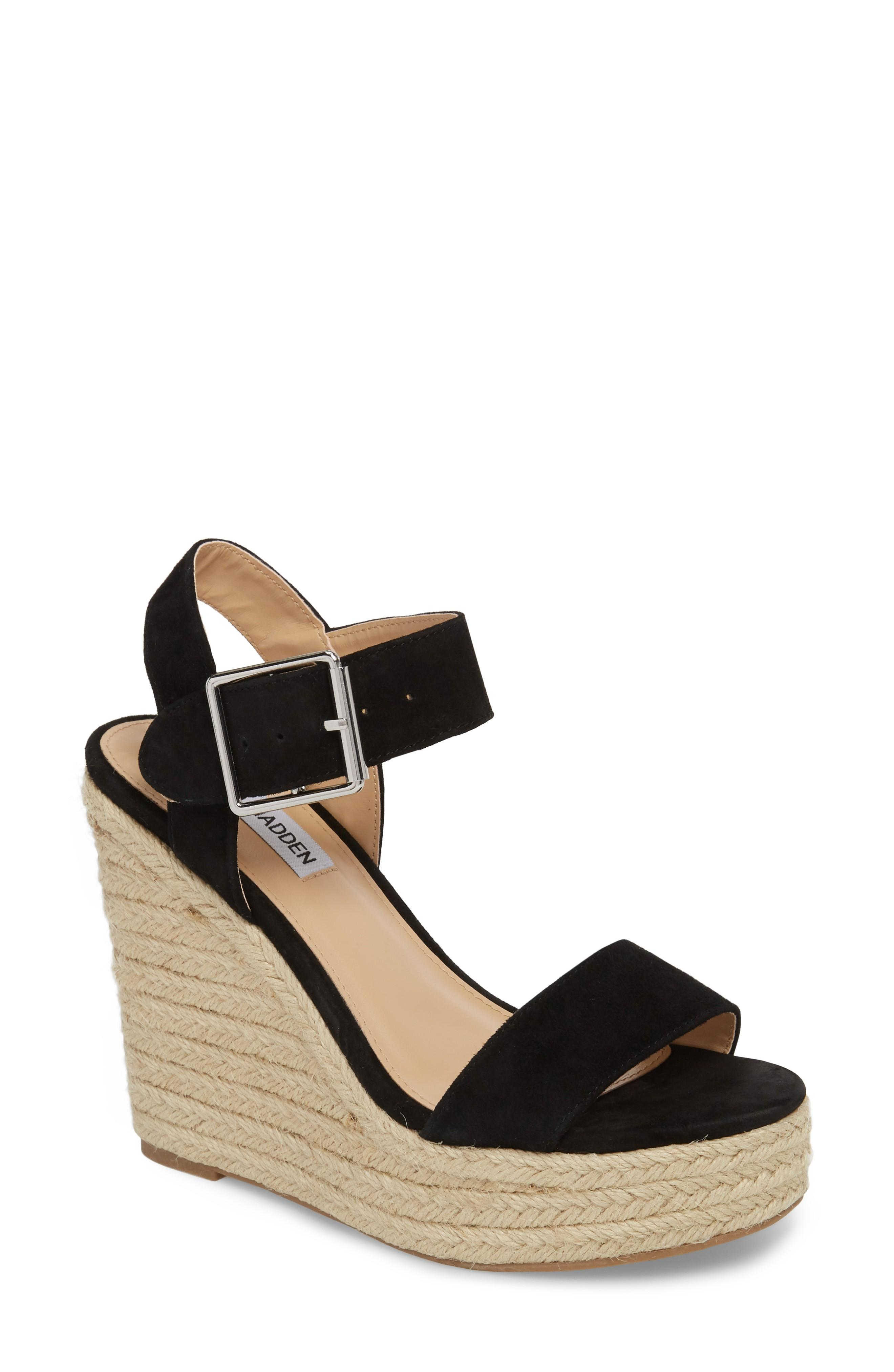 1ebfaceddaf A lofty espadrille platform adds a bit of earthy style to this standout  ankle-strap sandal. Style Name  Steve Madden Santorini Espadrille Wedge  Sandal ...
