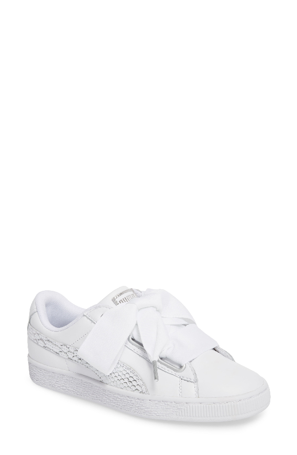 Puma Basket Heart Oceanaire Ribbon-Laced Sneakers In White/ White/ White