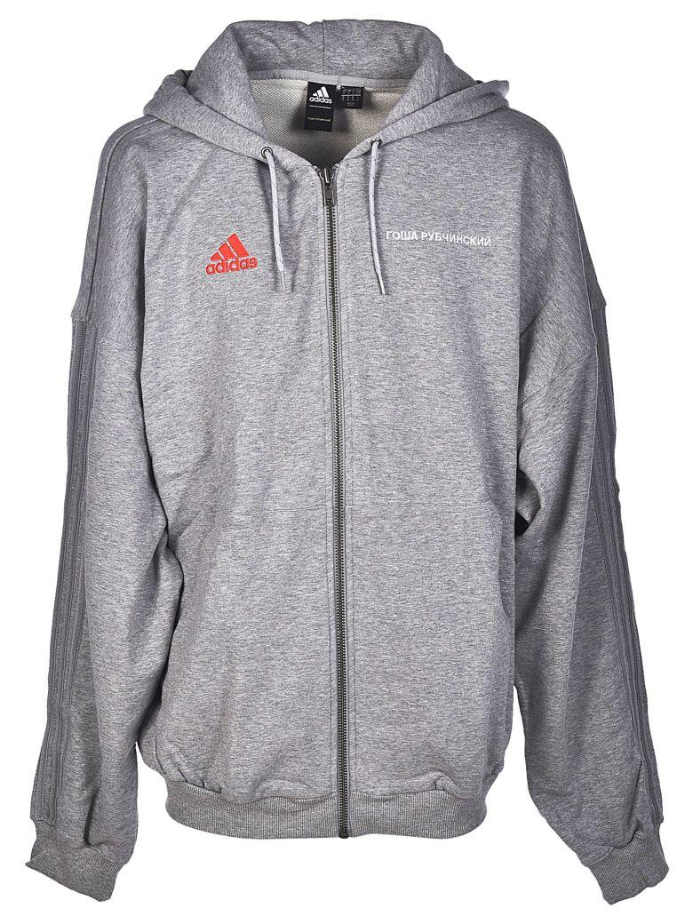 X Adidas Logo Embroidered Hoodie in Grey