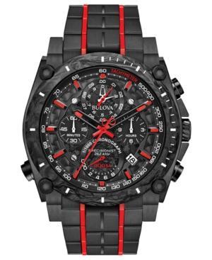 Bulova Men's Chronograph Precisionist Champlain Black & Red Stainless Steel Bracelet Watch 48.5Mm