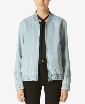 Avec Les Filles Cotton Denim Bomber Jacket In Indigo Denim