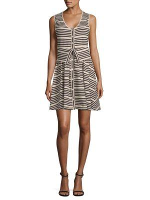 Opening Ceremony Striper Transformer Cotton Dress In White