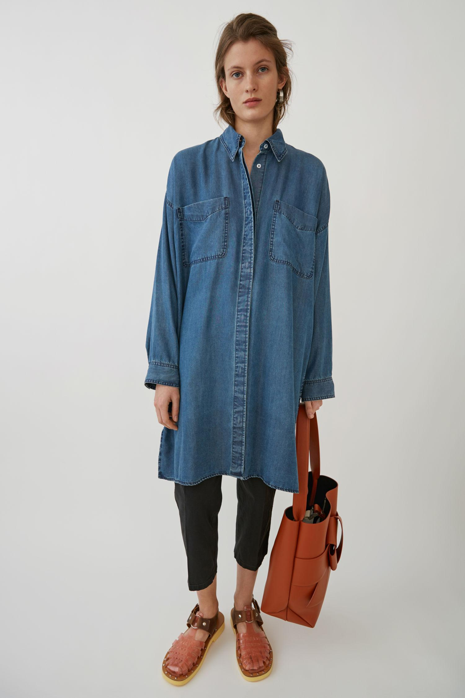 4f7a7f3554 Acne Studios Oversized Shirtdress Indigo Blue
