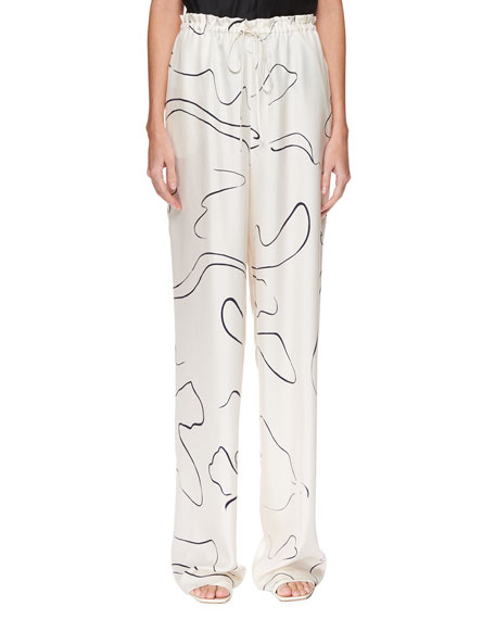 The Row Jr Abstract-Print Silk Drawstring Pants In White