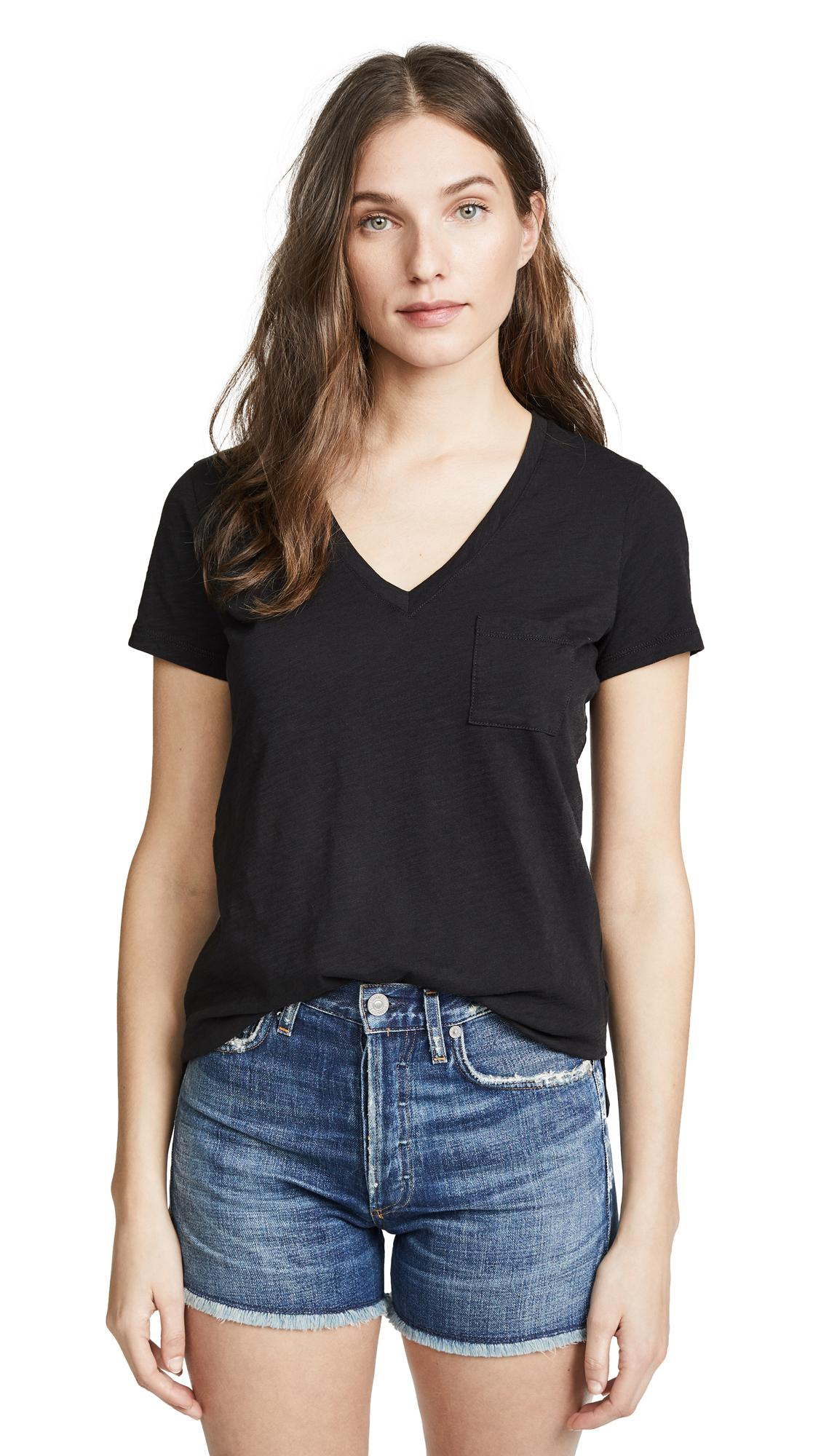 df446e2291a5 Madewell Whisper Cotton V Neck Pocket Tee In True Black | ModeSens