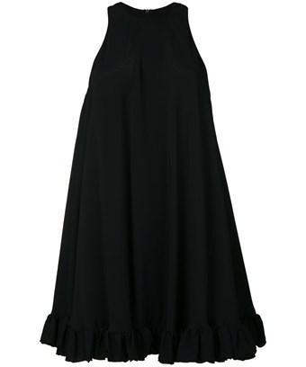 Msgm Viscose Ruffled Dress In Nero