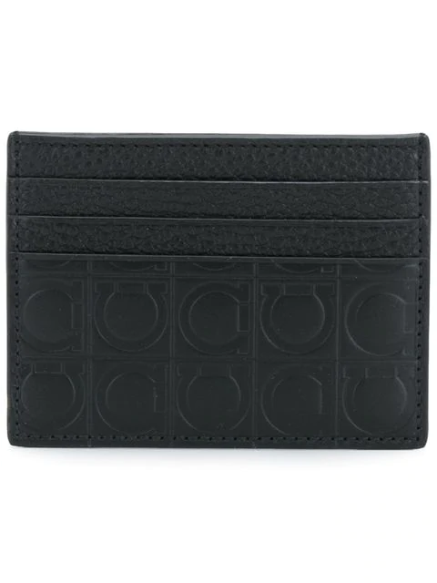 Salvatore Ferragamo Embossed Gancio Cardholder In Black