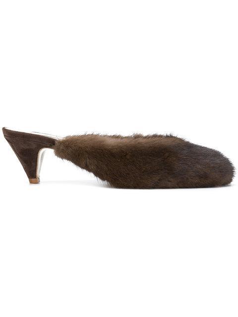 Natasha Zinko Kitten Heel Mules In Brown