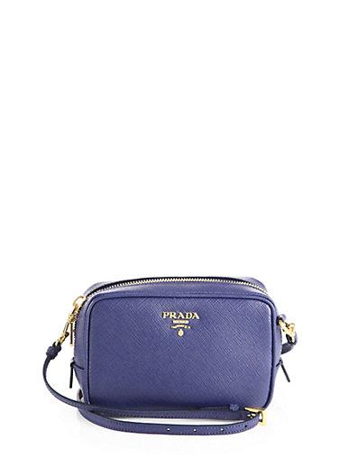 Prada Saffiano Leather Camera Bag In Bluette-Blue
