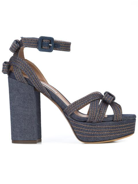 Tabitha Simmons Platform Bow Sandals In Blue