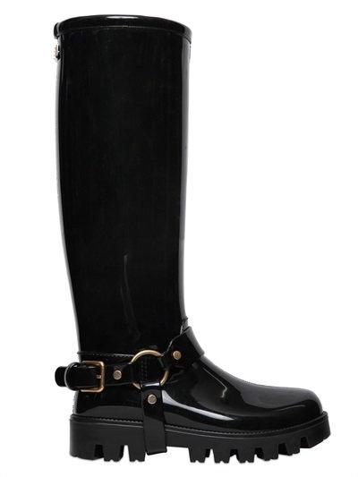Dolce & Gabbana Rain Boots Rubber Knee-High Boots In Black