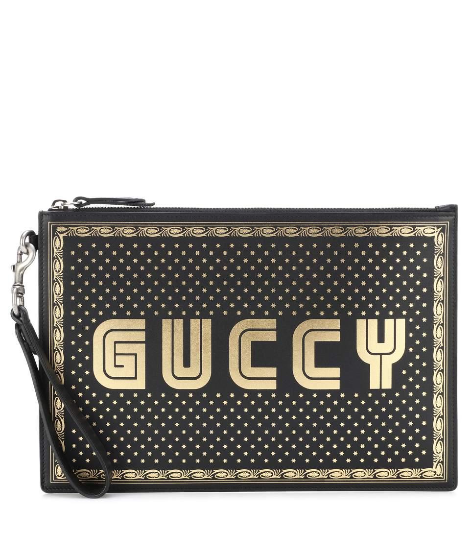 a65d8a3042f9 Gucci Guccy Leather Clutch In Female   ModeSens
