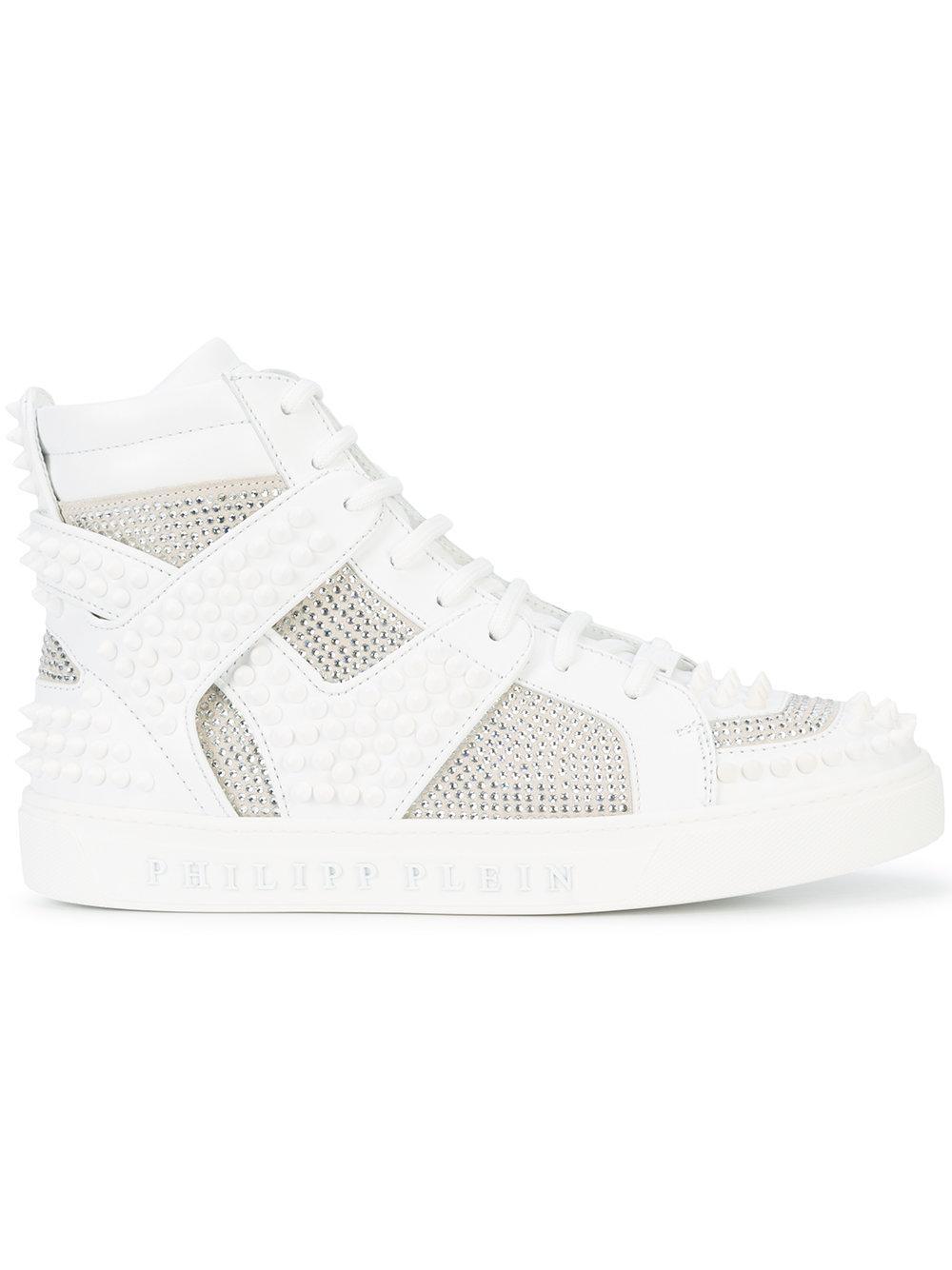 b0bfb8a688 Philipp Plein Embellished Hi-Top Sneakers | ModeSens