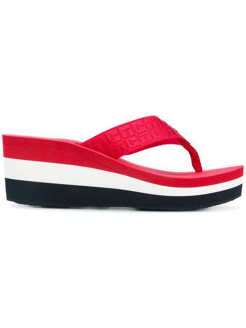 2b4ef34b4ff9d9 Tommy Hilfiger Striped Wedge Flip Flops - Multicolour