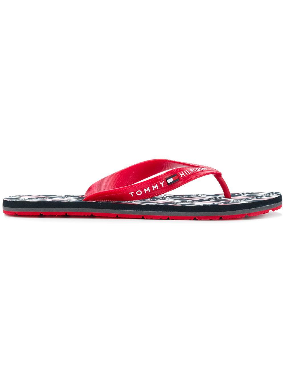 24ac8666f905d3 Tommy Hilfiger Logo Stamped Flip Flops - Red