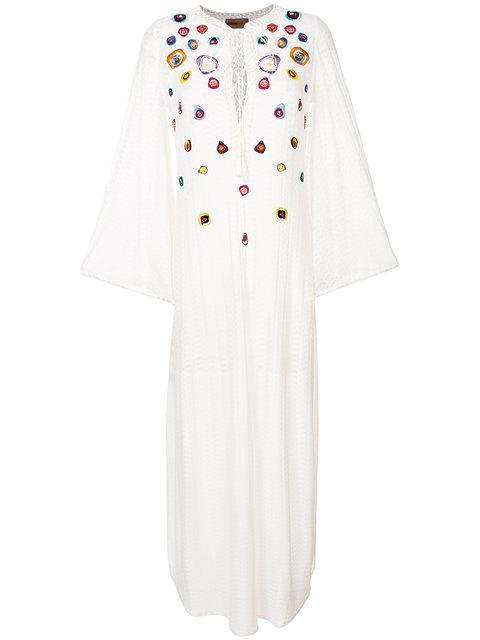 eb7d9ed145f32f Missoni White Embroidered Fine-Knit Kaftan   ModeSens