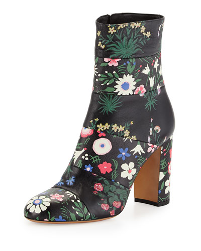 Valentino Spring Garden-Print Leather Ankle Boots In Multi Colors