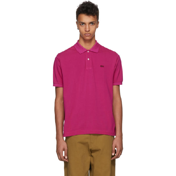 Junya Watanabe + Lacoste Garment-dyed Cotton-piquÉ Polo Shirt In 3 Pink