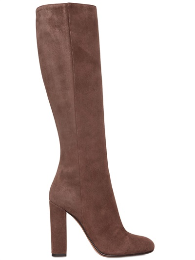 Etro 105Mm Suede Boots, Brown In Taupe