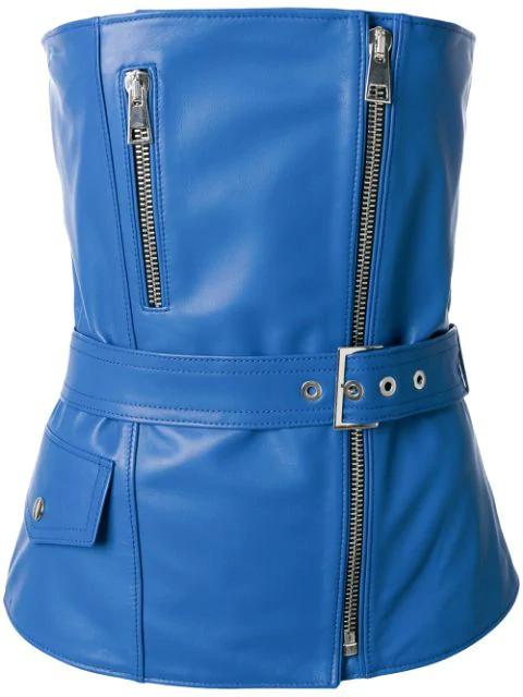 Manokhi Zipped Biker Top In Blue