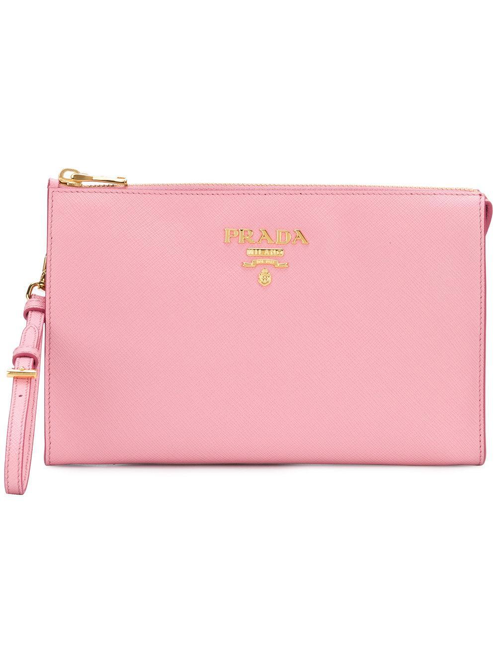 e3945cf880f7 Prada Logo Clutch Bag - Pink   ModeSens