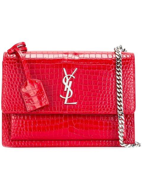 d7912a59bc Red leather medium  Sunset Monogram  satchel from Saint Laurent featuring a  chain and leather strap