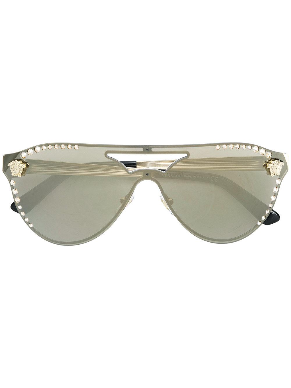 81249b1b923d Versace Embellished Aviator Sunglasses In Metallic | ModeSens