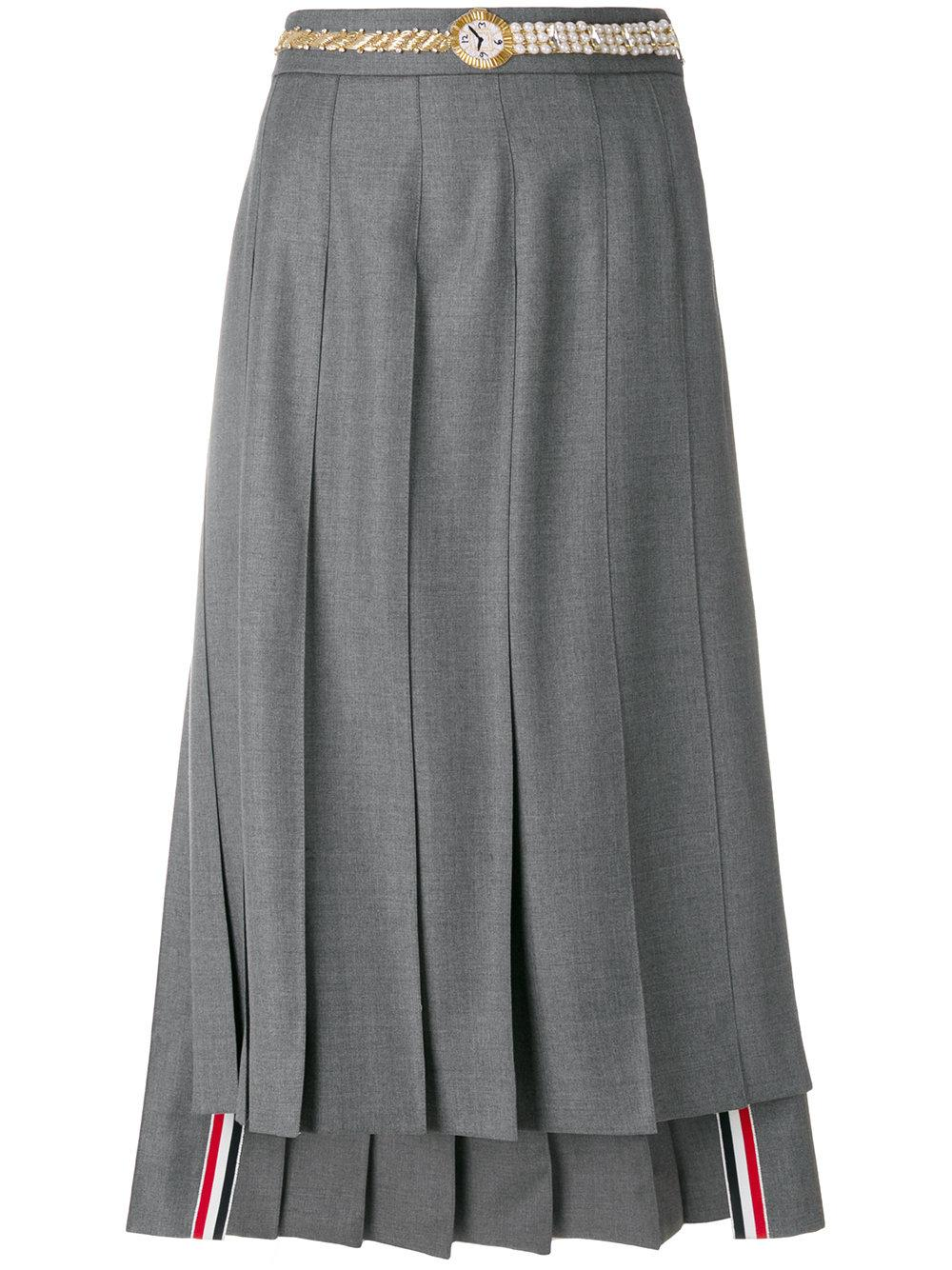 7b6a148b6 Thom Browne Below Knee Dropped Back Pleated Skirt With Belt Applique ...